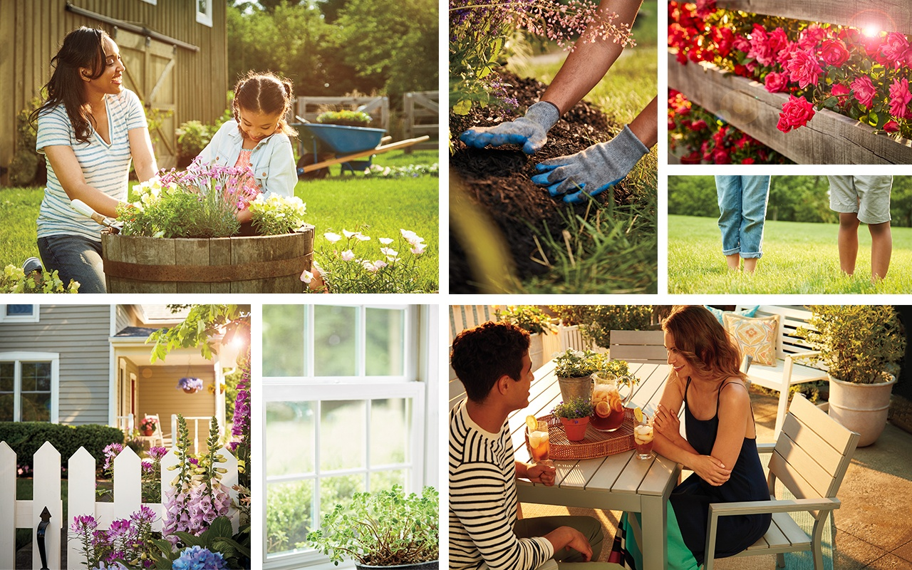 collage-family-gardening-dining-outdoors